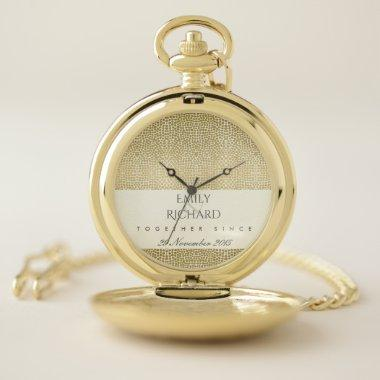 GLAMOROUS GOLD WHITE MOSAIC DOT SAVE THE DATE GIFT POCKET WATCH