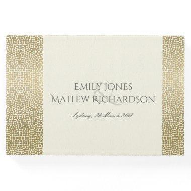 GLAMOROUS GOLD WHITE MOSAIC DOTS PERSONALISED GUEST BOOK