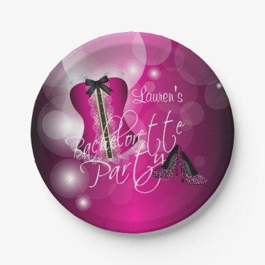 Glamorous Lingerie Bachelorette Party | Hot Pink Paper Plate
