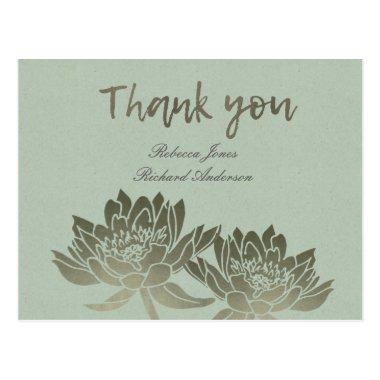GLAMOROUS PALE BLUE SILVER LOTUS FLORAL THANK YOU POST