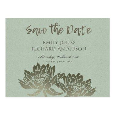 GLAMOROUS PALE BLUE SILVER LOTUS SAVE THE DATE POST