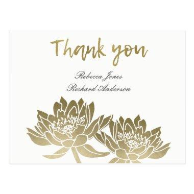 GLAMOROUS PALE GOLD WHITE LOTUS FLORAL THANK YOU POST