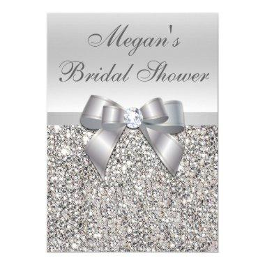 Glamorous Silver Sequins Bow