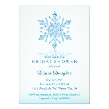 Glass Snowflake Winter Bridal Shower Invitations