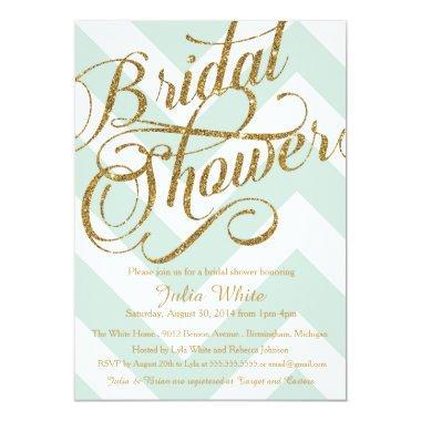 Glitter  Invitation, Mint Chevron