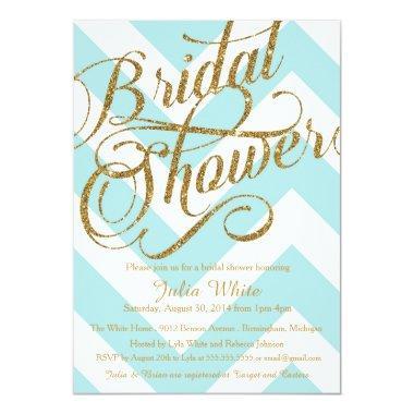 Glitter  Invitation, Tiffany Chevron