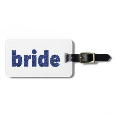 Glitter Bride Blue Luggage Tag