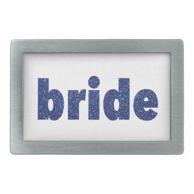 Glitter Bride Blue Rectangular Belt Buckle