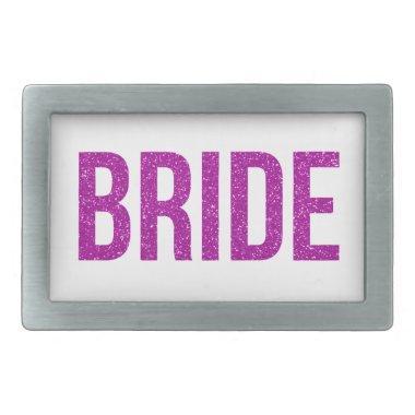 Glitter Bride Pink Rectangular Belt Buckle