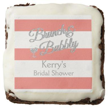 Glitter, Coral and White Stripe Brownies