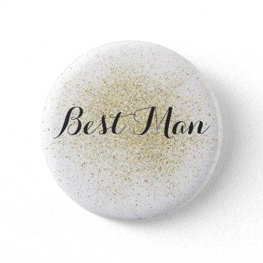 Glitter Gold Best Man Button