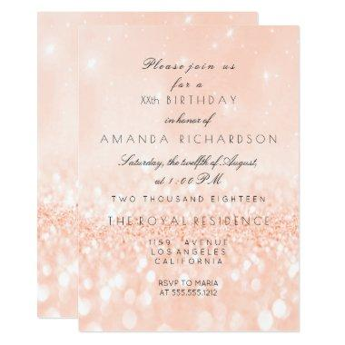 Glitter Pastel Coral Peach Girly Bridal Birthday