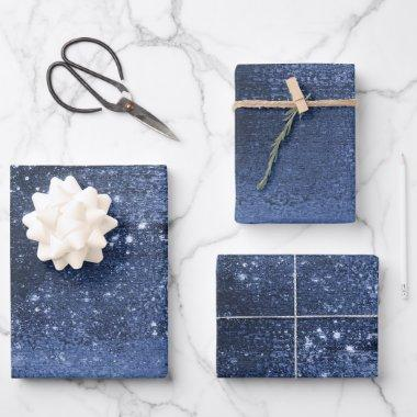 Glitzy Minimalism | Navy Blue Dark Glitter Sparkle Wrapping Paper Sheets