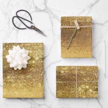Glitzy Minimalist | Mellow Yellow Gold Shine Wrapping Paper Sheets