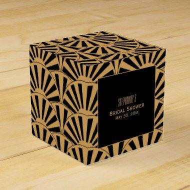 Gold and Black Art Deco Fan Flowers  Favor Box