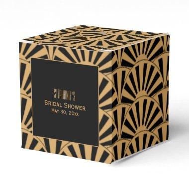 Gold and Black Art Deco Fan Flowers Bridal Shower Favor Box