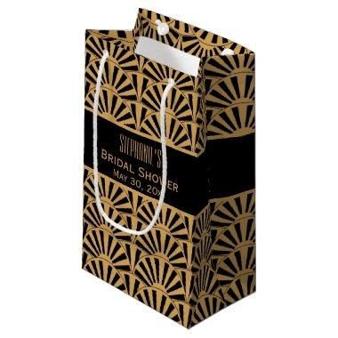Gold and Black Art Deco Fan Flowers  Small Gift Bag