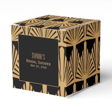 Gold and Black Art Deco Pattern Bridal Shower Favor Box