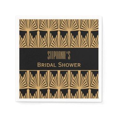 Gold and Black Art Deco Pattern Bridal Shower Paper Napkin