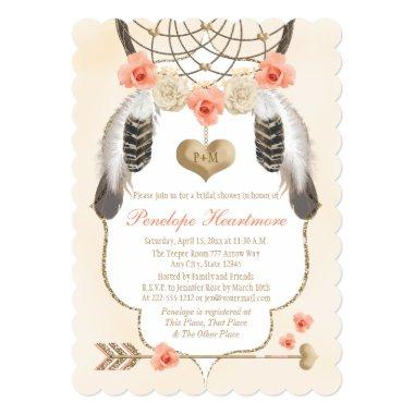 Gold and Blush Dreamcatcher Boho Bridal Shower Invitations