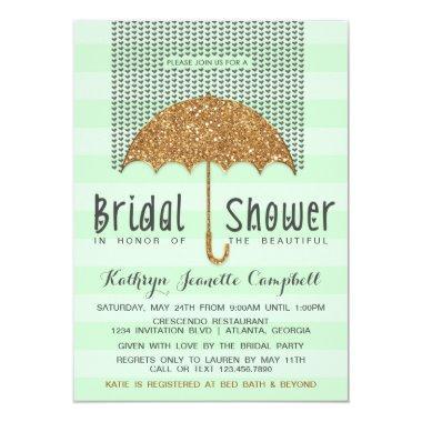 Gold and Mint Umbrella & Hearts Bridal Shower Invitations