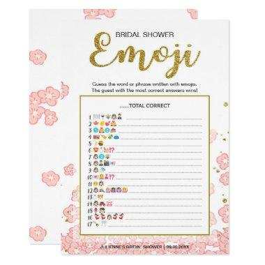 Gold and Pink Bridal Shower Emoji Pictionary Game Invitations