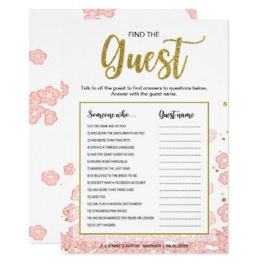 Gold and Pink Bridal Shower Find the Guest Game Invitations