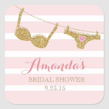 Gold and Pink Lingerie  Favor Sticker