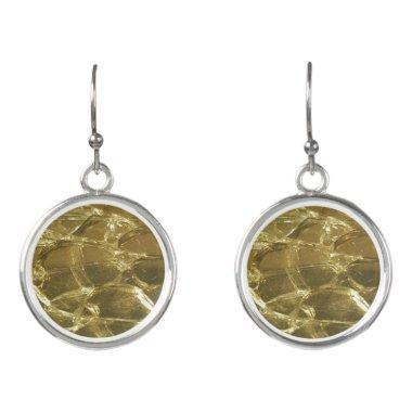 Gold Bar Golden Glitter Festive Chic Drop Earrings