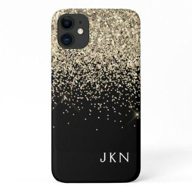 Gold Black Girly Glitter Sparkle Monogram Name iPhone 11 Case