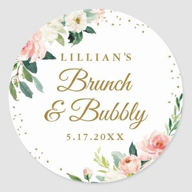 Gold Blush Floral Brunch And Bubbly Classic Round Sticker