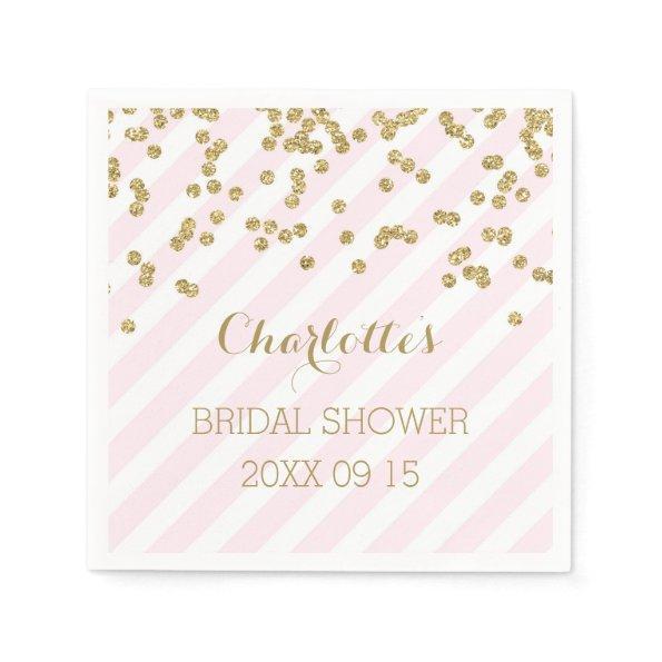 Gold Blush Pink Confetti Stripes  Napkin