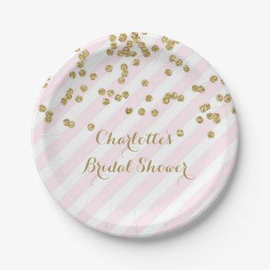 Gold Blush Pink Confetti Stripes  Paper Plate