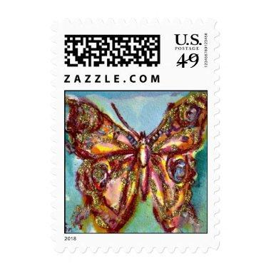 GOLD BUTTERFLY IN BLUE POSTAGE