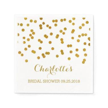 Gold Confetti Bridal Shower Paper Napkin