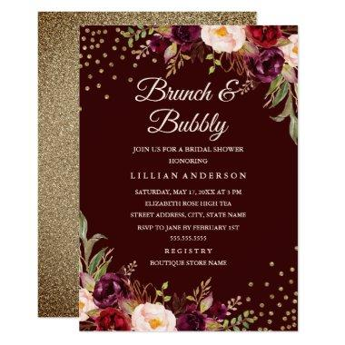 Gold Confetti Burgundy Floral Brunch and Bubbly Invitations