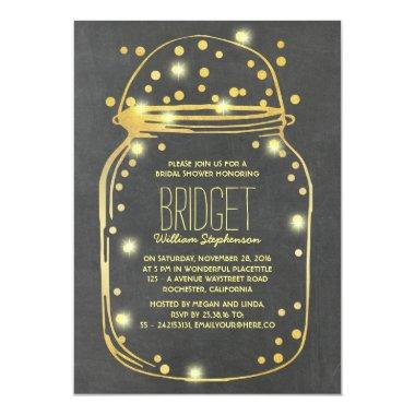 Gold Confetti Fireflies Mason Jar Bridal Shower Invitations