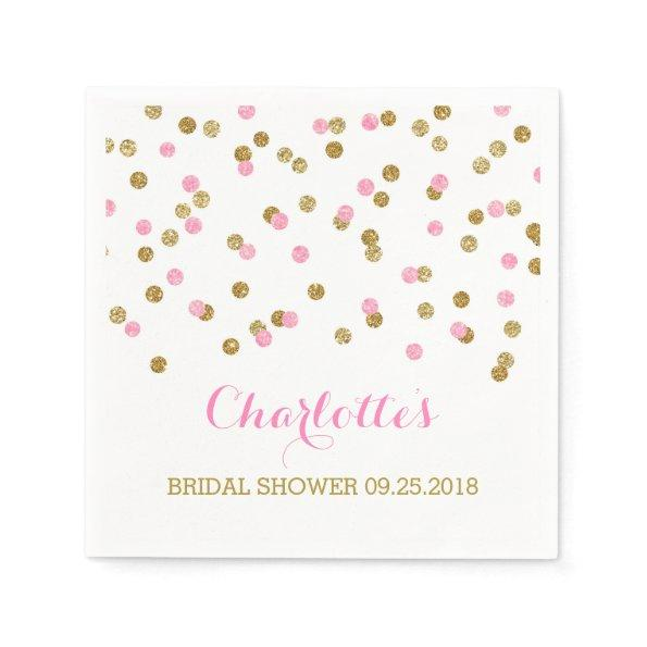 Gold Confetti Light Pink  Paper Napkin