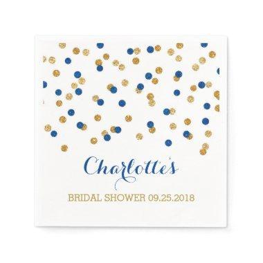 Gold Confetti Navy Blue  Paper Napkin