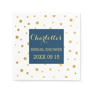 Gold Confetti Navy Blue Bridal Shower Paper Napkin