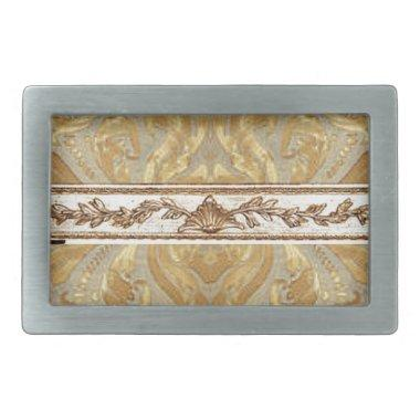 Gold Damask with center border Rectangular Belt Buckle