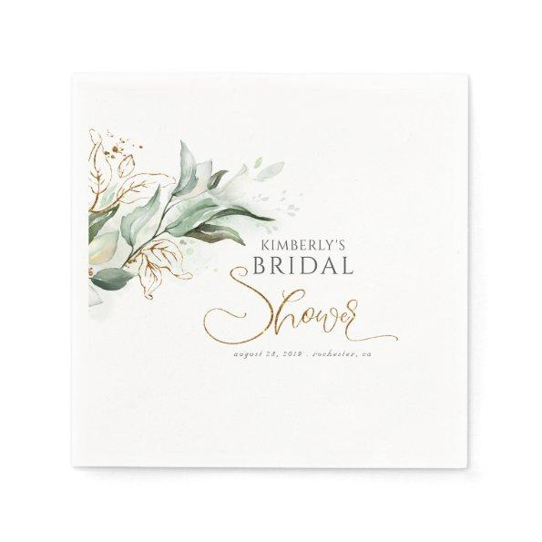 Gold Eucalyptus Greenery Bridal Shower Napkin