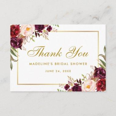 Gold Floral Burgundy Bridal Shower Thanks SB Thank You Invitations
