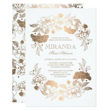 Gold Floral Wreath Elegant White Bridal Shower Invitations