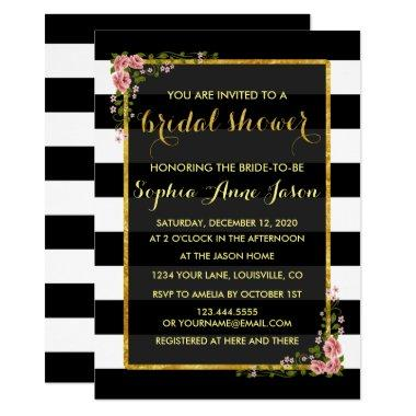 Gold Foil Black Stripes  Invite