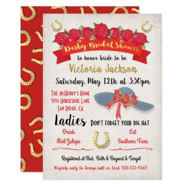 Gold Foil Derby Bridal Shower Invitations