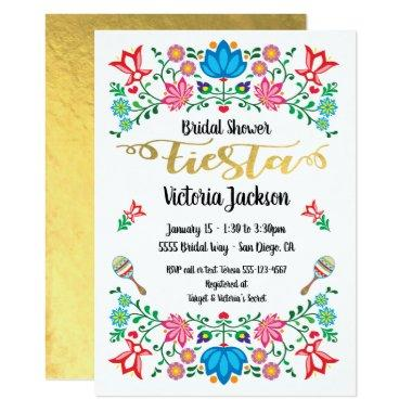 gold foil floral mexican fiesta bridal shower invitations