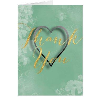 Gold Foil Lettering on Aqua Green Floral Backdrop