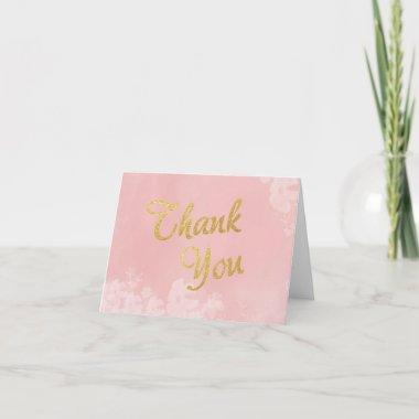 Gold Foil Lettering on Pink Floral Thank You