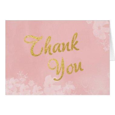 Gold Foil Lettering on Pink Floral Thank You